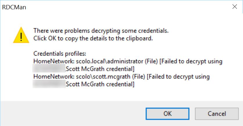 RDCManEncryptedCredsError
