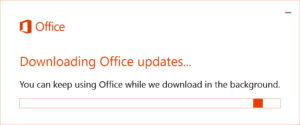 This is the window you'll see while office updates are downloading.
