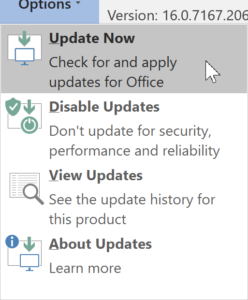 Click on office Updates and then 'Update Now'
