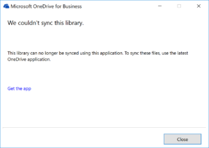 When Syncing for OneDrive for Business for first time update error appears.