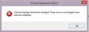 VMWare Cannot change Bridged network settings