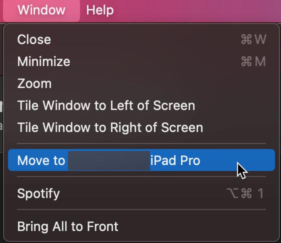 Spotify Menu item - Move to iPad Menu